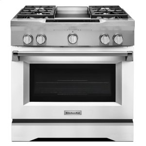 36'' 4-Burner with Griddle, Dual Fuel Freestanding Range, Commercial-Style - Imperial White -