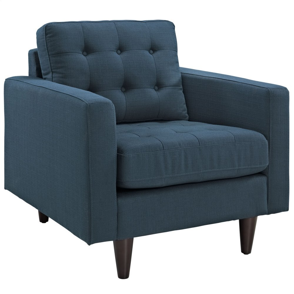 Empress Upholstered Fabric Armchair in Azure
