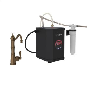 English Bronze Perrin & Rowe Edwardian Column Spout Hot Water Faucet, Tank And Filter Kit with Traditional Metal Lever