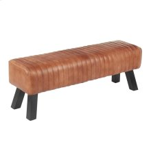 Ali Bench - Black Wood, Brown Leather