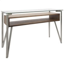 Hover Console Table - Brushed Stainless Steel, Walnut Wood, Clear Glass