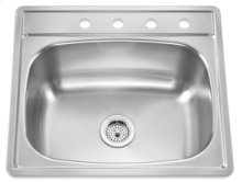 Large Single Topmount 4 Faucet Holes(Stainless Steel)