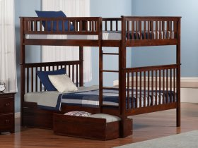 Woodland Bunk Bed Full over Full with Flat Panel Bed Drawers in Walnut
