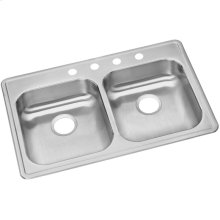 """Dayton Stainless Steel 33"""" x 21-1/4"""" x 5-3/8"""", Equal Double Bowl Drop-in Sink"""