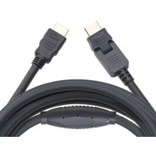 Black 20' HDMI Cable; Includes 1 pivoting end and 1 straight end