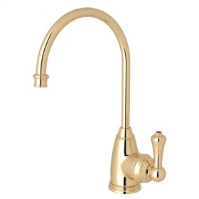 English Gold Perrin & Rowe Georgian Era C-Spout Hot Water Faucet with Traditional Metal Lever