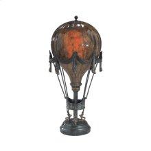 PENSHELL CRACKLE BALLOON LAMP, VERDIGRIS BRONZE PATINA MOUNT S, GREEN MARBLE BASE