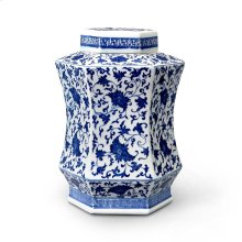 Autumn Covered Hexagonal Jar, Blue & White
