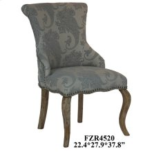 Danielle Paisley Upholstered Accent Chair with Distressed Wood Legs