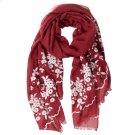 Cranberry Floral Embroidered Scarf. Product Image
