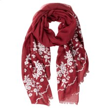 Cranberry Floral Embroidered Scarf.