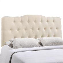 Annabel King Upholstered Fabric Headboard in Ivory