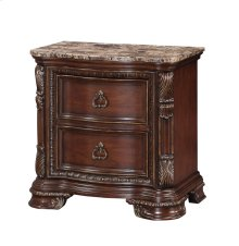 Emerald Home Riviera 2 Drawer Nightstand With Marble Top Brown Cherry B621-03