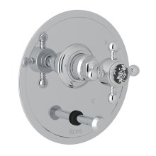 Polished Chrome Italian Bath Pressure Balance Trim With Diverter with Crystal Cross Handle