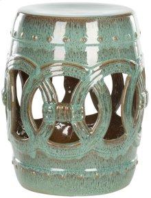 Blue-green Ceramic Double Coin Stool - Reactive Blue