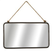 Rectangle Wall Mirror with Rope Hanger.