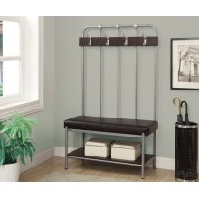 """BENCH - 60""""H / SILVER METAL HALL ENTRY"""