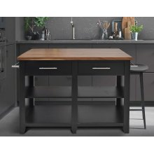 "Hilton Counter Kitchen Island Black 49""x23""-32""x36"" (9"" Leaf)"