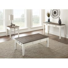 "Cayla Cocktail Table, Dark Oak/ White, 52""x32""x18"""