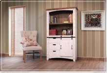 "70"" Bookcase w/3 drawers, 1 Sliding door & 1 Wooden middle Shelf - White finish"