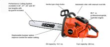 """ECHO's most powerful chain saw. 24"""", 27"""", 32"""", and 36"""" bar lengths."""