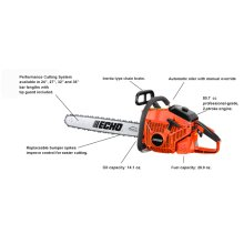 "ECHO's most powerful chain saw. 24"", 27"", 32"", and 36"" bar lengths."