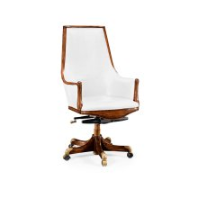 High Backed Walnut Office Chair, Upholstered in In COM