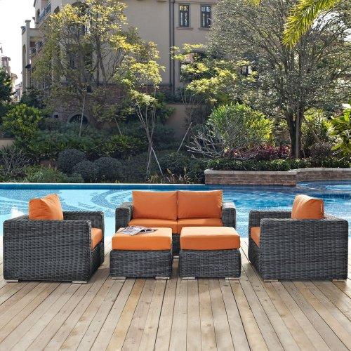 Summon 5 Piece Outdoor Patio Sunbrella® Sectional Set in Canvas Tuscan