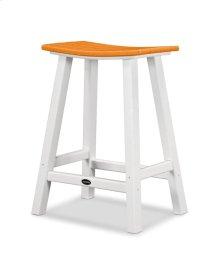 "White & Tangerine Contempo 24"" Saddle Bar Stool"