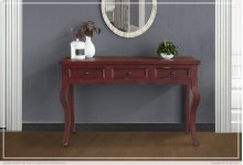 Sofa Table w/ 3 Drawers - Red Currat finish