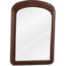 "21"" X 30"" Mirror with floral onlay, beveled glass, and Merlot finish."