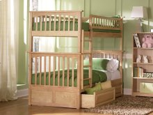 Columbia Bunk Bed Twin over Twin with Raised Panel Bed Drawers in Natural