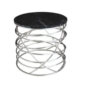Emerald Home Amherst T7116-01 Round End Table Black Marble Top W/stainless Base Brushed Stainless Steel