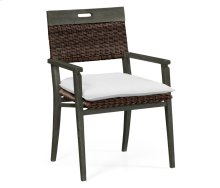 Square Back Grey & Rattan Dining Chair with Cushion, Upholstered in COM