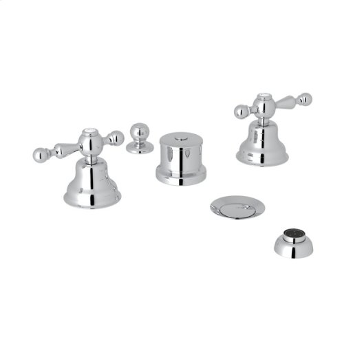 Polished Chrome Arcana Five Hole Bidet Faucet with Arcana Series Only Ornate Metal Lever