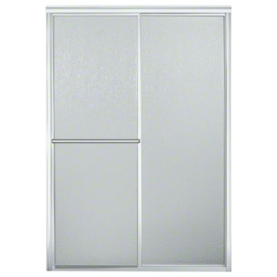 "Deluxe Framed Sliding Shower Door - Height 65-1/2"", Max. Opening 46"" - Silver with Rain Glass Texture"