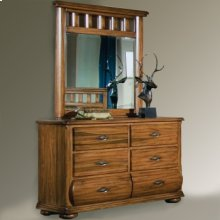 Six Drawer double dresser with Landscape mirror