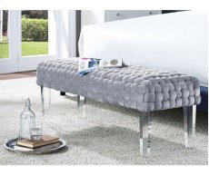Sal Woven Grey Velvet Bench Product Image