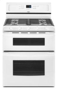 White-on-White Whirlpool Gold® Double Oven Freestanding Gas Range