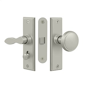 Storm Door Latch, Square, Mortise Lock - Brushed Nickel