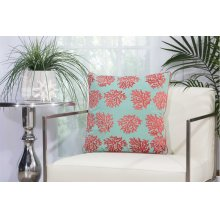 "Outdoor Pillow L1520 Aqua/coral 18"" X 18"" Throw Pillow"