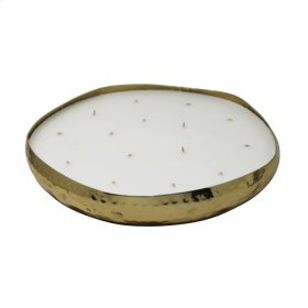 """14"""" Hammered Metal Bowl W/candle, Gold"""