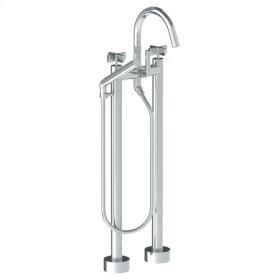 Floor Standing Gooseneck Bath Set With Slim Hand Shower