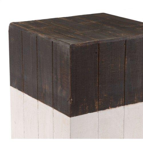 Wooden Square Garden Seat Brn & Wht