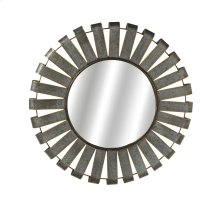 Medium Round Galvanized Slat Wall Mirror with Gold Edge.