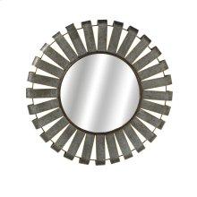 Medium Round Galvanized Slat Wall Mirror with Gold Edge.