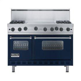 """Viking Blue 48"""" Open Burner Range - VGIC (48"""" wide, four burners 24"""" wide griddle/simmer plate)"""