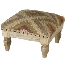 Tan, Grey & Green Kilim Stool.