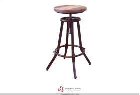 "24-30"" Adjustable Swivel Stool, wooden seat, Iron base - Multicolor Finish on seat (Match with Atique Collection)"