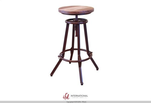 """24-30"""" Adjustable Swivel Stool, wooden seat, Iron base - Multicolor Finish on seat (Match with Atique Collection)"""